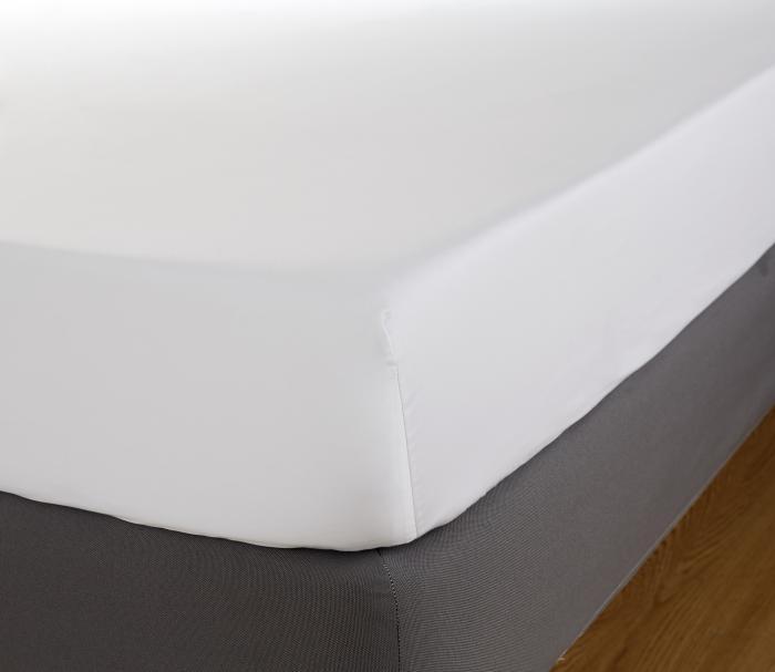 Cearceaf de pat cu elastic, 200TC - Alb-big