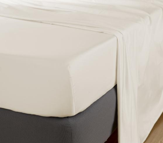 Cearceaf de pat cu elastic, 600TC - Ivory